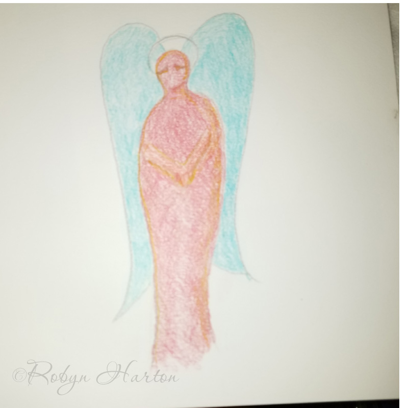 Original Art Angels in Colored Pencil by Robyn